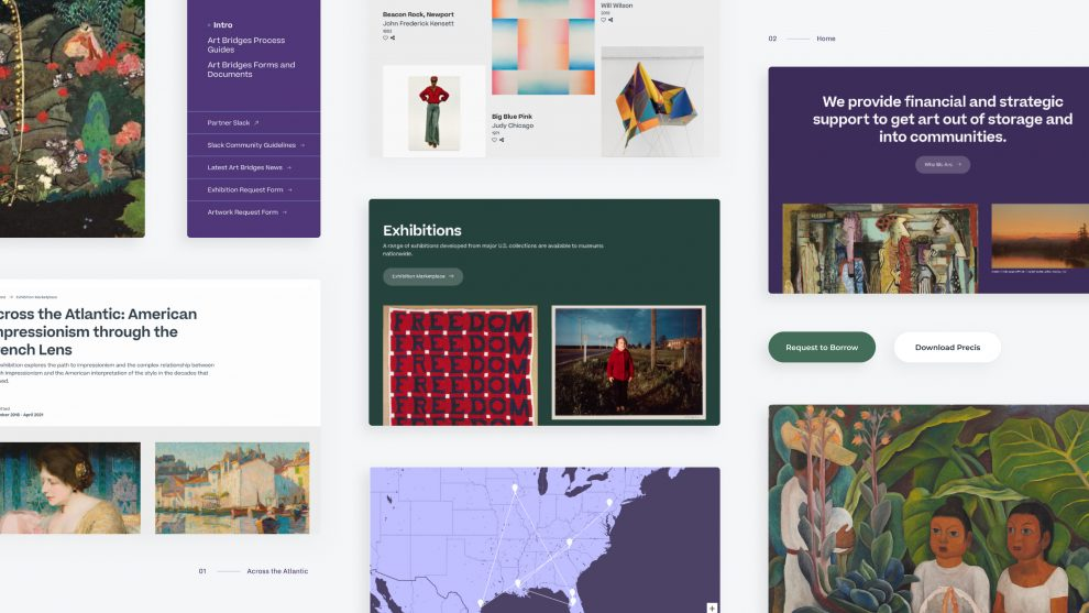 A grid of several screen shots of pages from the new Art Bridges website