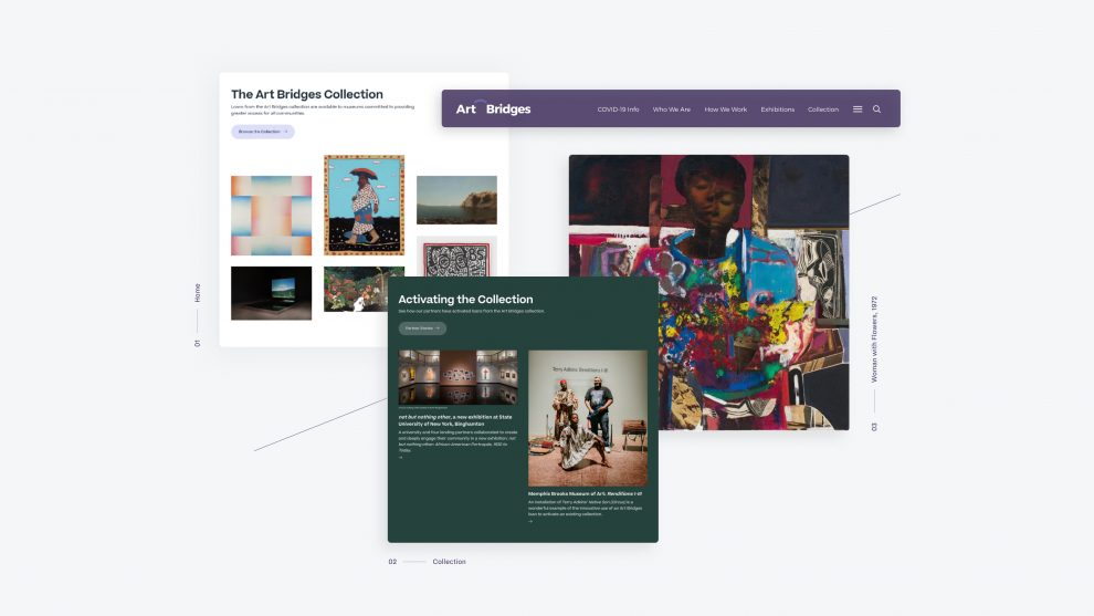 three screen shots of the new Art Bridges website, the homepage, the collections page, and an artwork detail page